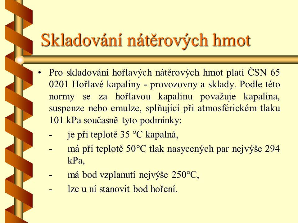 Skladování nátěrových hmot Pro skladování hořlavých nátěrových hmot platí ČSN 65 0201 Hořlavé kapaliny - provozovny a sklady.