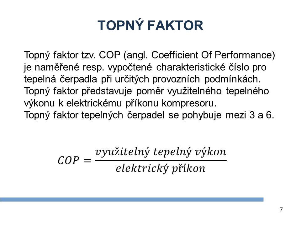 7 TOPNÝ FAKTOR Topný faktor tzv. COP (angl. Coefficient Of Performance) je naměřené resp. vypočtené charakteristické číslo pro tepelná čerpadla při ur