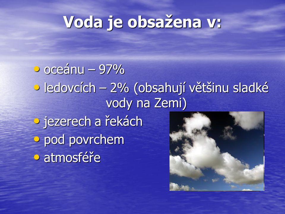 Voda je obsažena v: oceánu – 97% oceánu – 97% ledovcích – 2% (obsahují většinu sladké vody na Zemi) ledovcích – 2% (obsahují většinu sladké vody na Ze