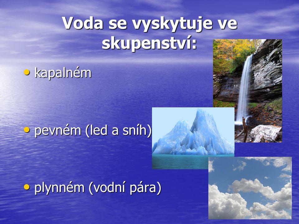 Voda se vyskytuje ve skupenství: kapalném kapalném pevném (led a sníh) pevném (led a sníh) plynném (vodní pára) plynném (vodní pára)