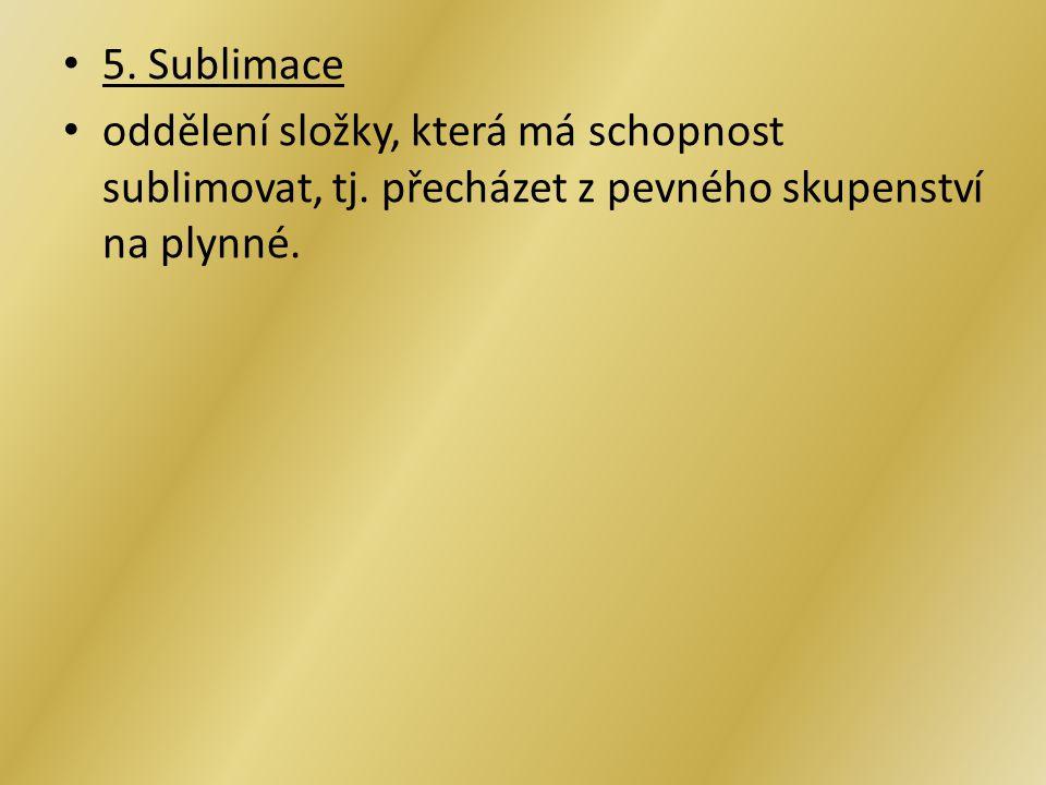 5. Sublimace oddělení složky, která má schopnost sublimovat, tj.