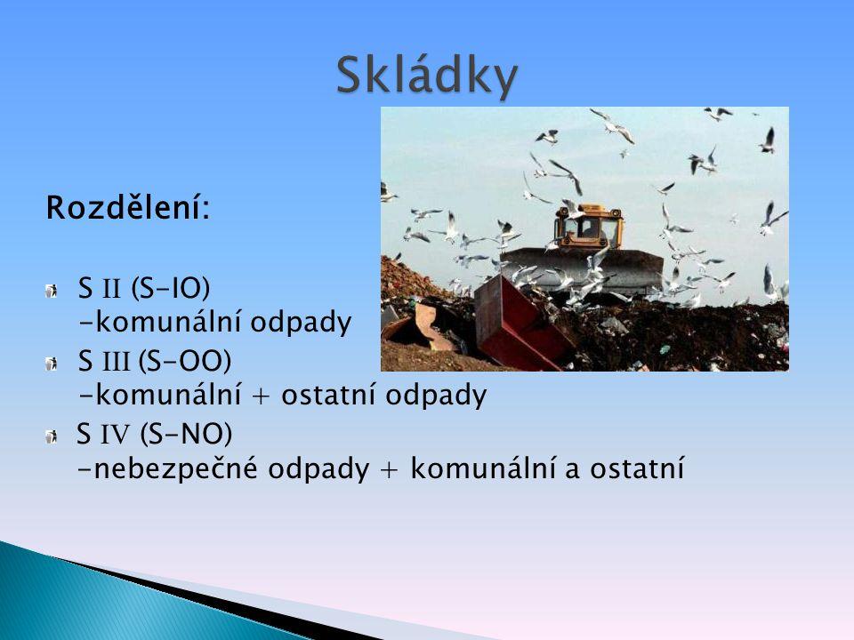 Rozdělení: S II (S-IO) -komunální odpady S III (S-OO) -komunální + ostatní odpady S IV (S-NO) -nebezpečné odpady + komunální a ostatní