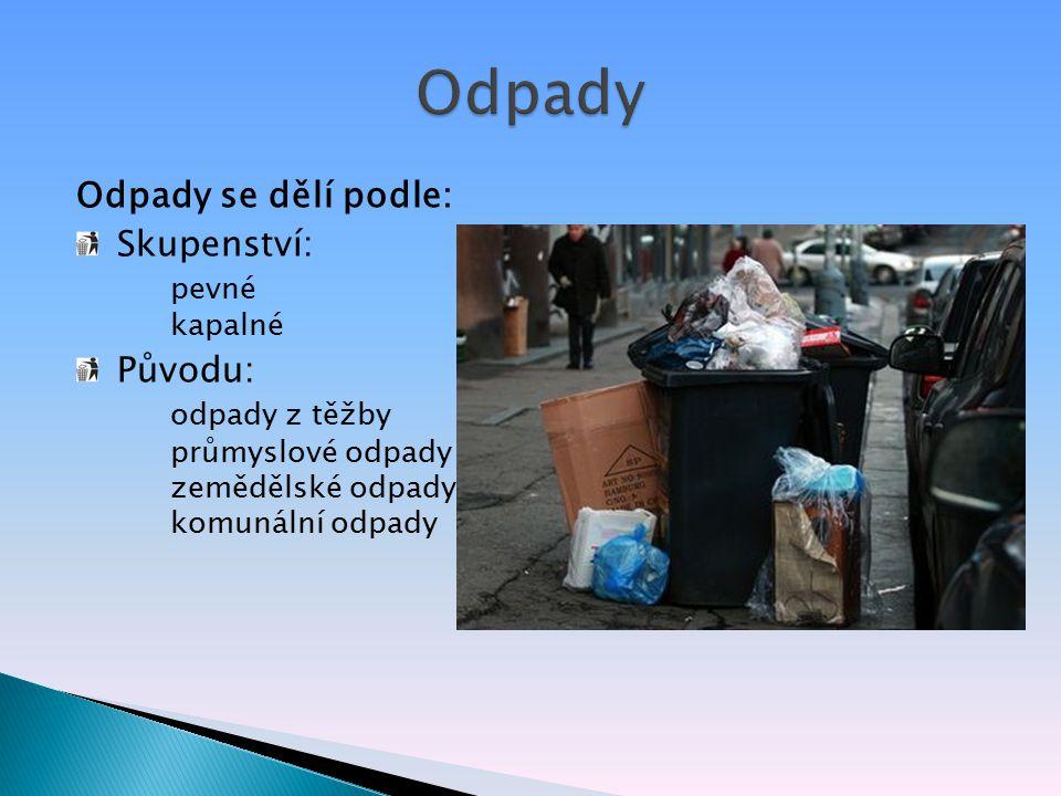 Odpady se dělí podle: Skupenství: pevné kapalné Původu: odpady z těžby průmyslové odpady zemědělské odpady komunální odpady