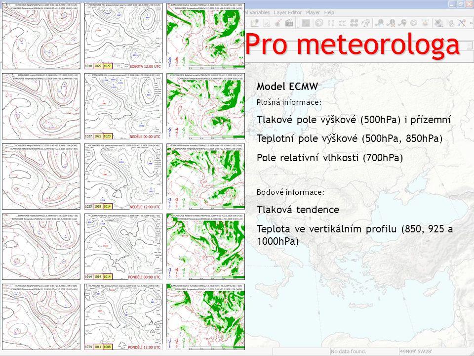 Pro meteorologa Model ECMW Plošná informace: Tlakové pole výškové (500hPa) i přízemní Teplotní pole výškové (500hPa, 850hPa) Pole relativní vlhkosti (