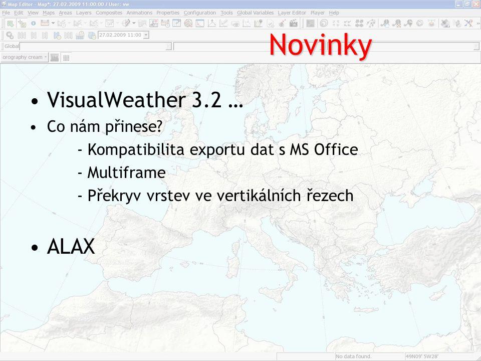 Novinky VisualWeather 3.2 … Co nám přinese? - Kompatibilita exportu dat s MS Office - Multiframe - Překryv vrstev ve vertikálních řezech ALAX