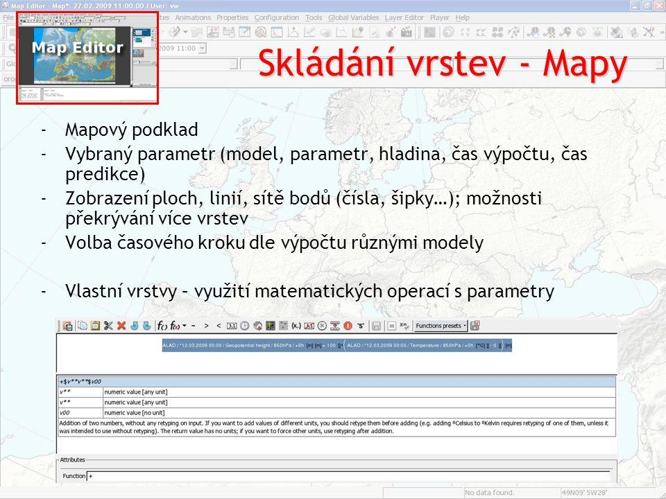 Skládání vrstev - Mapy -Mapový podklad -Vybraný parametr (model, parametr, hladina, čas výpočtu, čas predikce) -Zobrazení ploch, linií, sítě bodů (čís