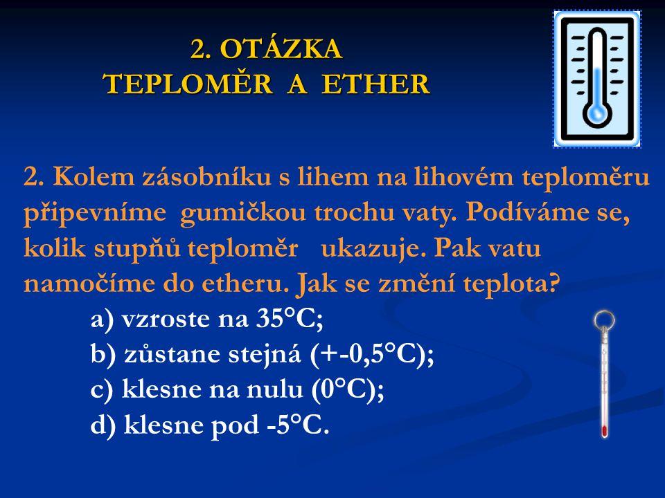 Ether je těkavá látka (rychle se vypařuje).K vypařování potřebuje energii.