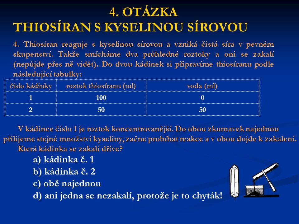 4. OTÁZKA THIOSÍRAN S KYSELINOU SÍROVOU 4.