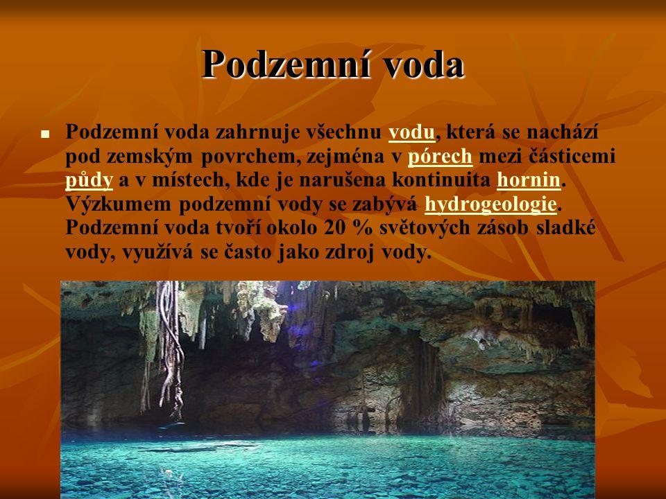 Podzemní voda Podzemní voda zahrnuje všechnu vodu, která se nachází pod zemským povrchem, zejména v pórech mezi částicemi půdy a v místech, kde je nar