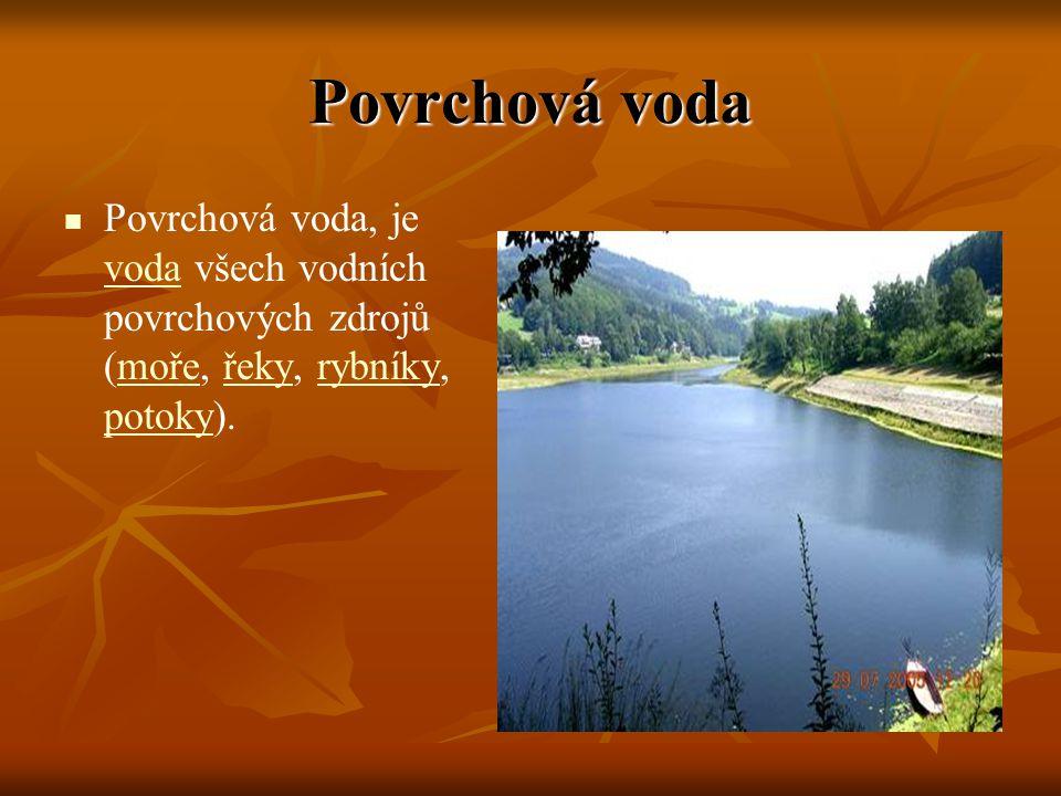 Povrchová voda Povrchová voda, je voda všech vodních povrchových zdrojů (moře, řeky, rybníky, potoky). vodamořeřekyrybníky potoky