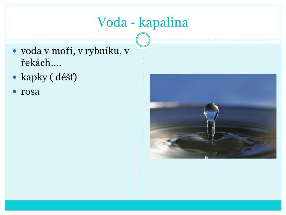 Voda - kapalina voda v moři, v rybníku, v řekách…. kapky ( déšť) rosa