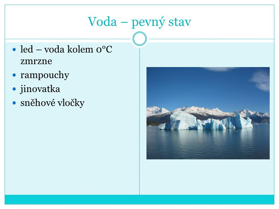 Voda – pevný stav led – voda kolem 0°C zmrzne rampouchy jinovatka sněhové vločky