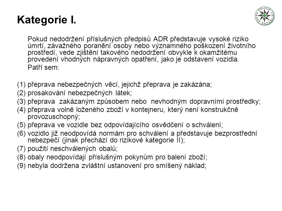 Kategorie I.