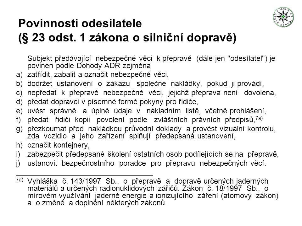 Povinnosti dopravce (§ 23 odst.
