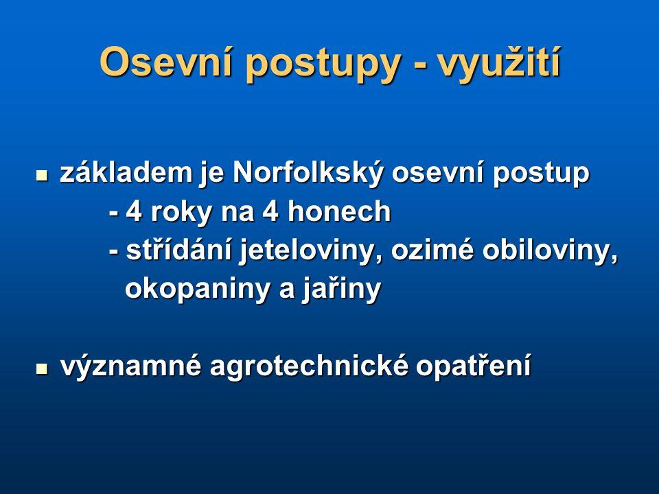 Osevní postupy - využití základem je Norfolkský osevní postup základem je Norfolkský osevní postup - 4 roky na 4 honech - 4 roky na 4 honech - střídán