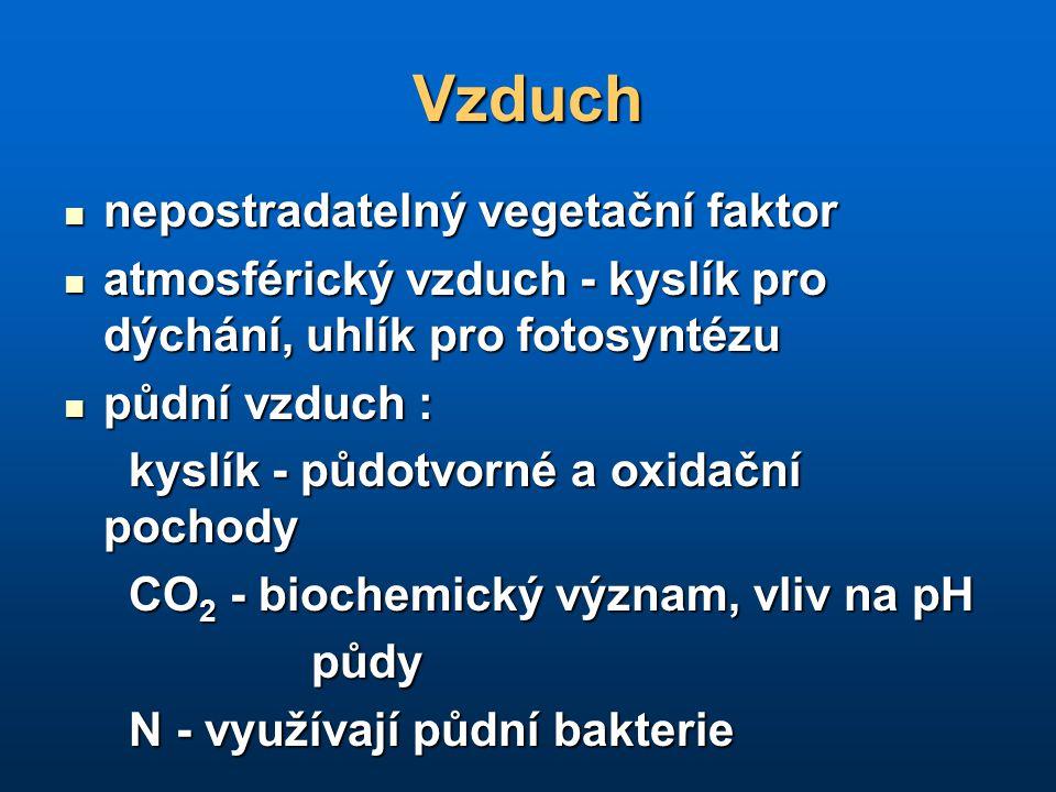 Vzduch nepostradatelný vegetační faktor nepostradatelný vegetační faktor atmosférický vzduch - kyslík pro dýchání, uhlík pro fotosyntézu atmosférický