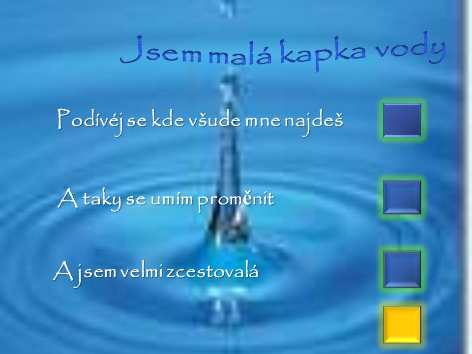 TEKUTÝ POKLAD Voda je přítomna všude kolem nás. Vodní páry jsou ve vzduchu. V potocích, řekách, jezerech, mořích a oceánech je voda kapalná. V zimě vo