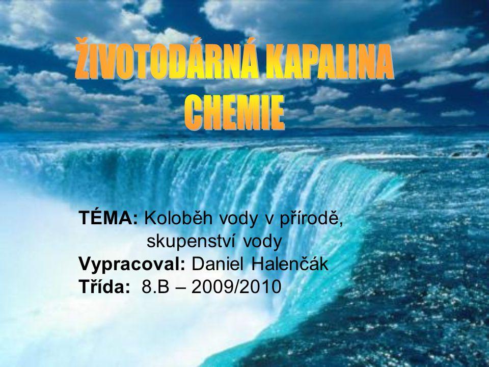 TÉMA: Koloběh vody v přírodě, skupenství vody Vypracoval: Daniel Halenčák Třída: 8.B – 2009/2010