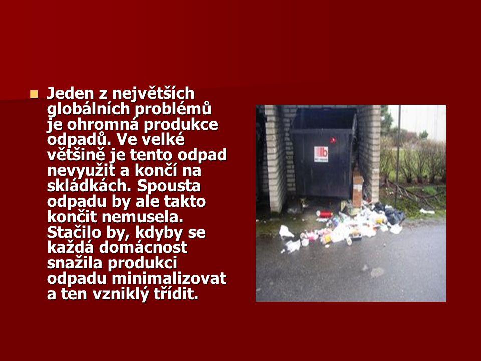 Jeden z největších globálních problémů je ohromná produkce odpadů. Ve velké většině je tento odpad nevyužit a končí na skládkách. Spousta odpadu by al