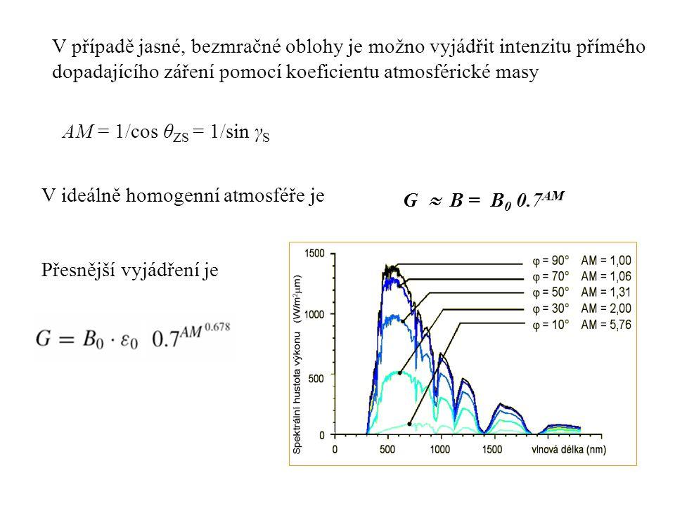 AM = 1/cos θ ZS = 1/sin γ S V ideálně homogenní atmosféře je Přesnější vyjádření je V případě jasné, bezmračné oblohy je možno vyjádřit intenzitu přím