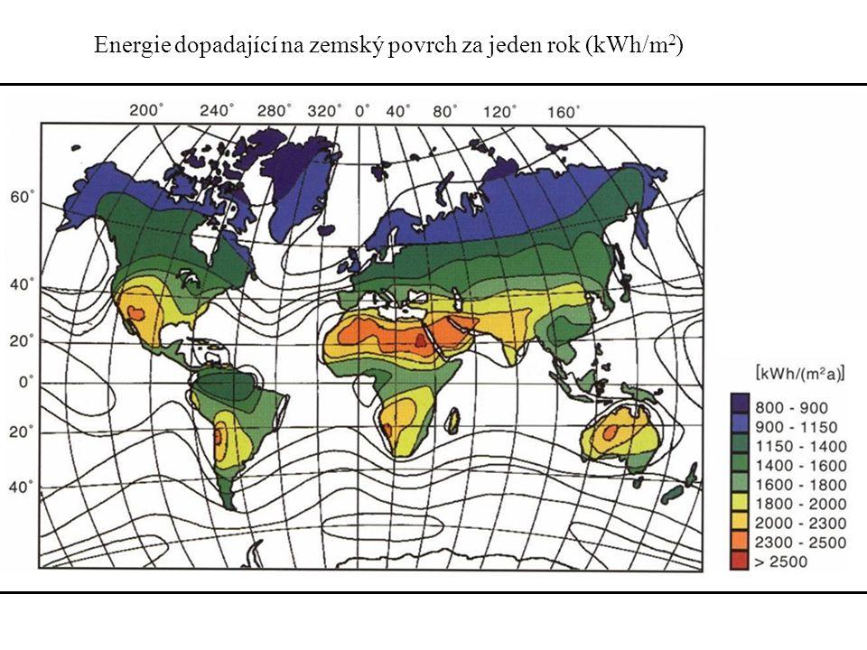 Energie dopadající na zemský povrch za jeden rok (kWh/m 2 )