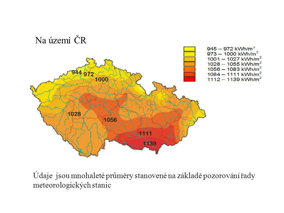 Na území ČR Údaje jsou mnohaleté průměry stanovené na základě pozorování řady meteorologických stanic