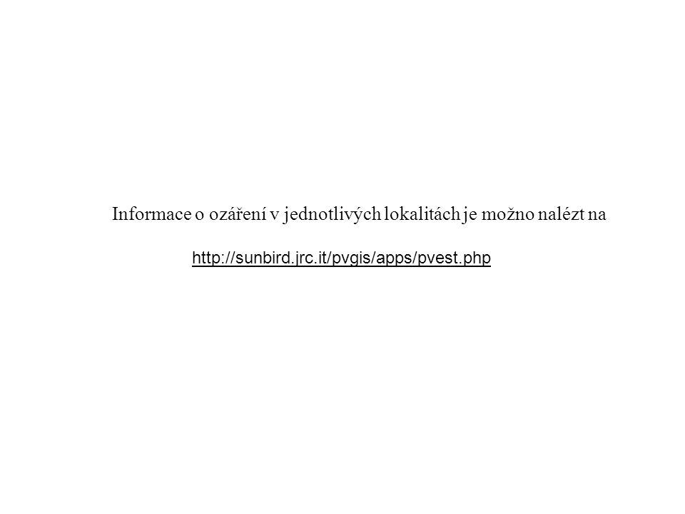 http://sunbird.jrc.it/pvgis/apps/pvest.php Informace o ozáření v jednotlivých lokalitách je možno nalézt na