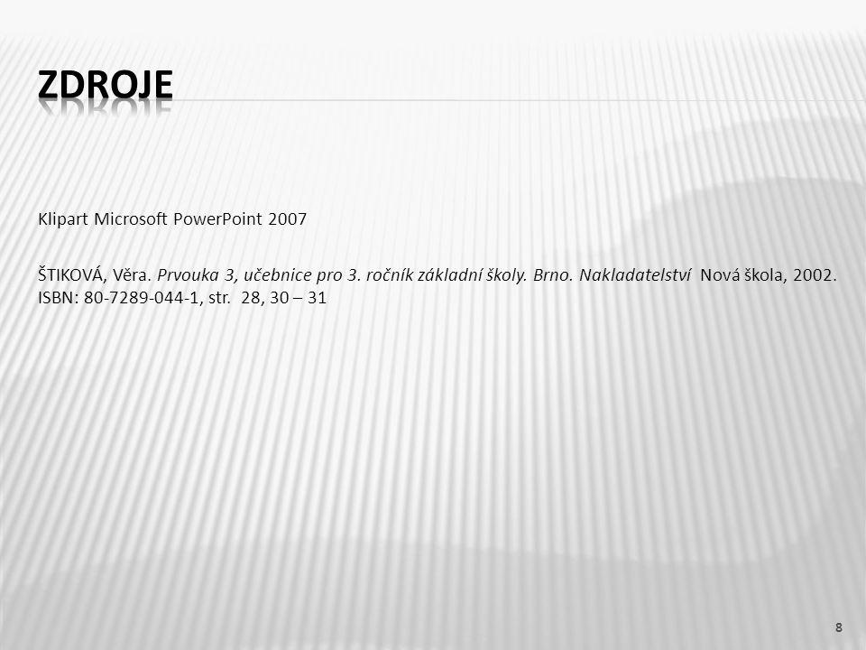 Klipart Microsoft PowerPoint 2007 ŠTIKOVÁ, Věra. Prvouka 3, učebnice pro 3. ročník základní školy. Brno. Nakladatelství Nová škola, 2002. ISBN: 80-728
