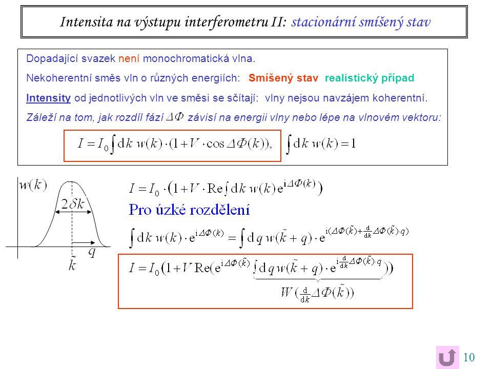 10 Intensita na výstupu interferometru II: stacionární smíšený stav Dopadající svazek není monochromatická vlna. Nekoherentní směs vln o různých energ