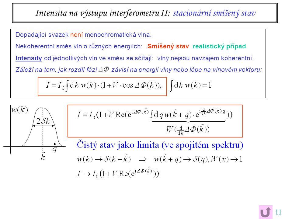 11 Intensita na výstupu interferometru II: stacionární smíšený stav Dopadající svazek není monochromatická vlna. Nekoherentní směs vln o různých energ
