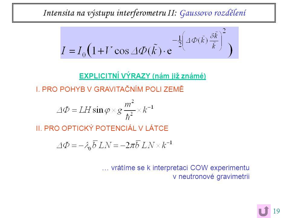 19 Intensita na výstupu interferometru II: Gaussovo rozdělení EXPLICITNÍ VÝRAZY (nám již známé) I. PRO POHYB V GRAVITAČNÍM POLI ZEMĚ II. PRO OPTICKÝ P