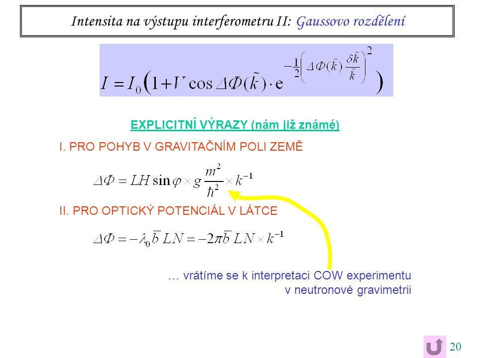 20 Intensita na výstupu interferometru II: Gaussovo rozdělení EXPLICITNÍ VÝRAZY (nám již známé) I. PRO POHYB V GRAVITAČNÍM POLI ZEMĚ II. PRO OPTICKÝ P