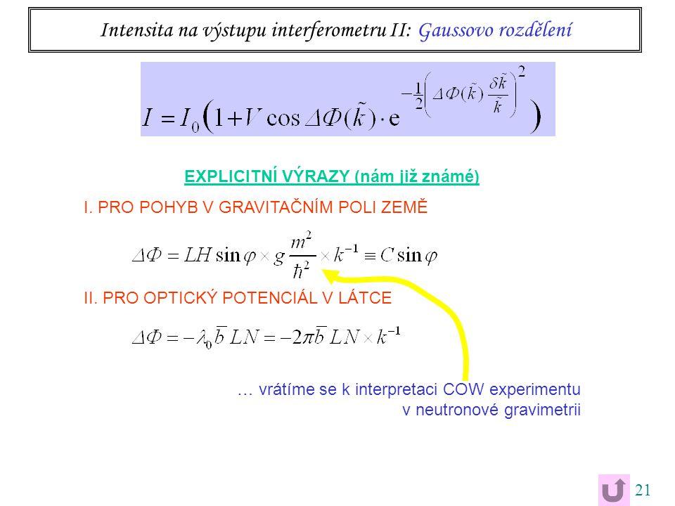21 Intensita na výstupu interferometru II: Gaussovo rozdělení EXPLICITNÍ VÝRAZY (nám již známé) I. PRO POHYB V GRAVITAČNÍM POLI ZEMĚ II. PRO OPTICKÝ P