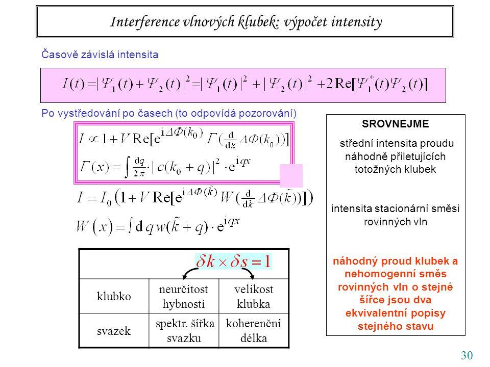 30 Interference vlnových klubek: výpočet intensity Časově závislá intensita Po vystředování po časech (to odpovídá pozorování) SROVNEJME střední inten