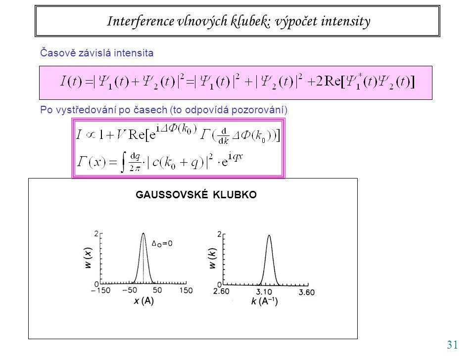 31 GAUSSOVSKÉ KLUBKO Interference vlnových klubek: výpočet intensity Časově závislá intensita Po vystředování po časech (to odpovídá pozorování)