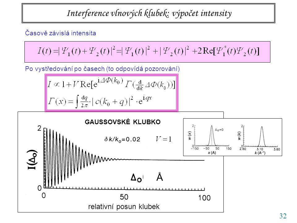 32 relativní posun klubek Å GAUSSOVSKÉ KLUBKO Interference vlnových klubek: výpočet intensity Časově závislá intensita Po vystředování po časech (to o