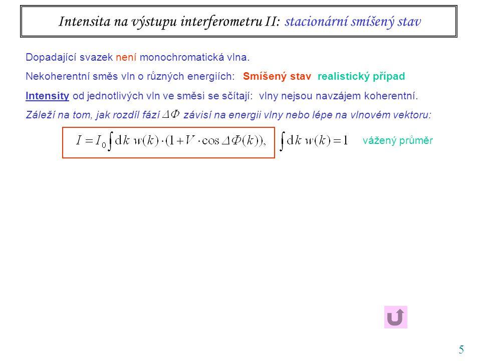 5 Intensita na výstupu interferometru II: stacionární smíšený stav vážený průměr Dopadající svazek není monochromatická vlna. Nekoherentní směs vln o