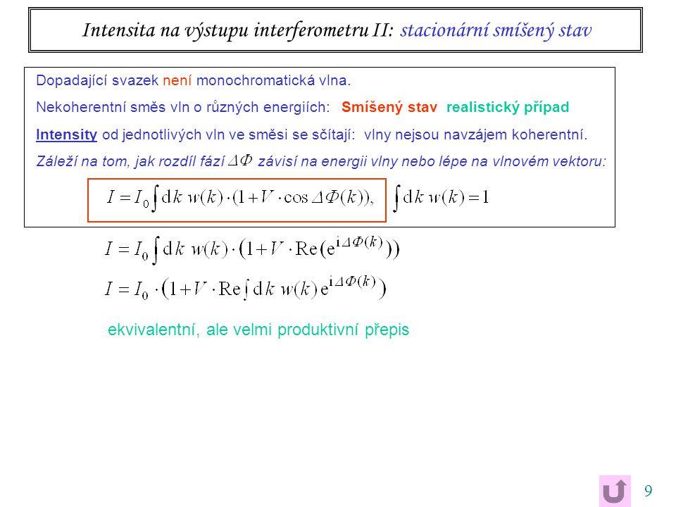 9 Intensita na výstupu interferometru II: stacionární smíšený stav ekvivalentní, ale velmi produktivní přepis Dopadající svazek není monochromatická v