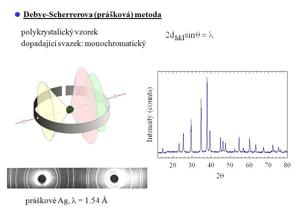  Debye-Scherrerova (prášková) metoda polykrystalický vzorek dopadající svazek: monochromatický práškové Ag, = 1.54 Å