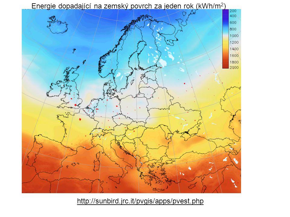 Energie dopadající na zemský povrch za jeden rok (kWh/m 2 ) http://sunbird.jrc.it/pvgis/apps/pvest.php