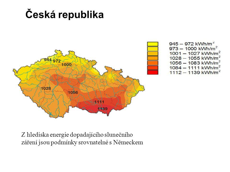 Česká republika Z hlediska energie dopadajícího slunečního záření jsou podmínky srovnatelné s Německem