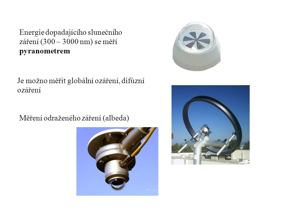 Energie dopadajícího slunečního záření (300 – 3000 nm) se měří pyranometrem Je možno měřit globální ozáření, difúzní ozáření Měření odraženého záření