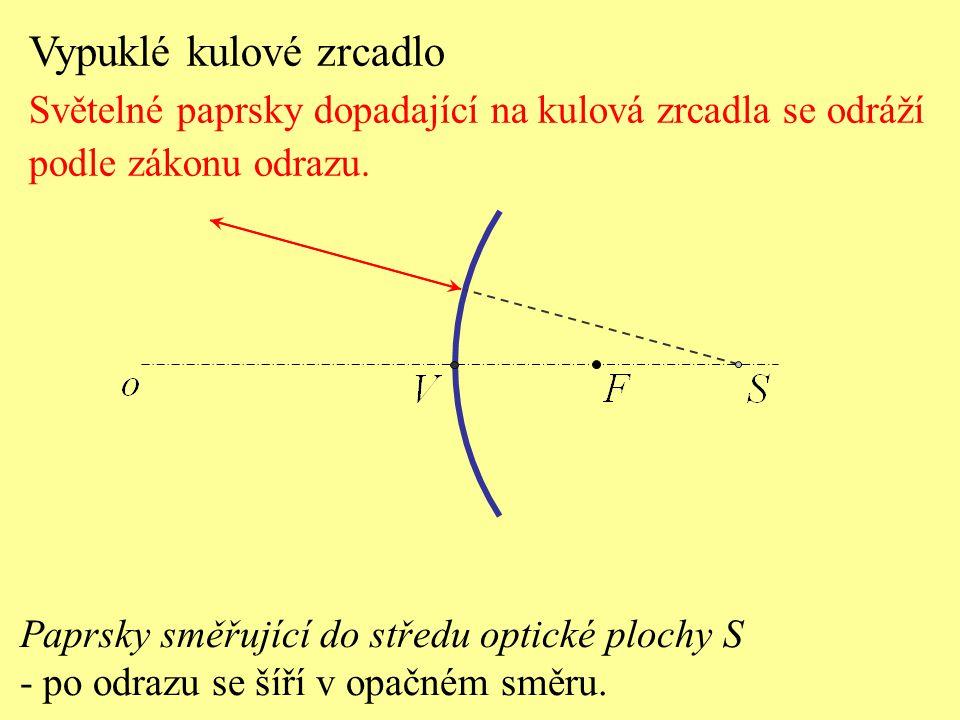 Paprsky směřující do středu optické plochy S - po odrazu se šíří v opačném směru. Vypuklé kulové zrcadlo Světelné paprsky dopadající na kulová zrcadla
