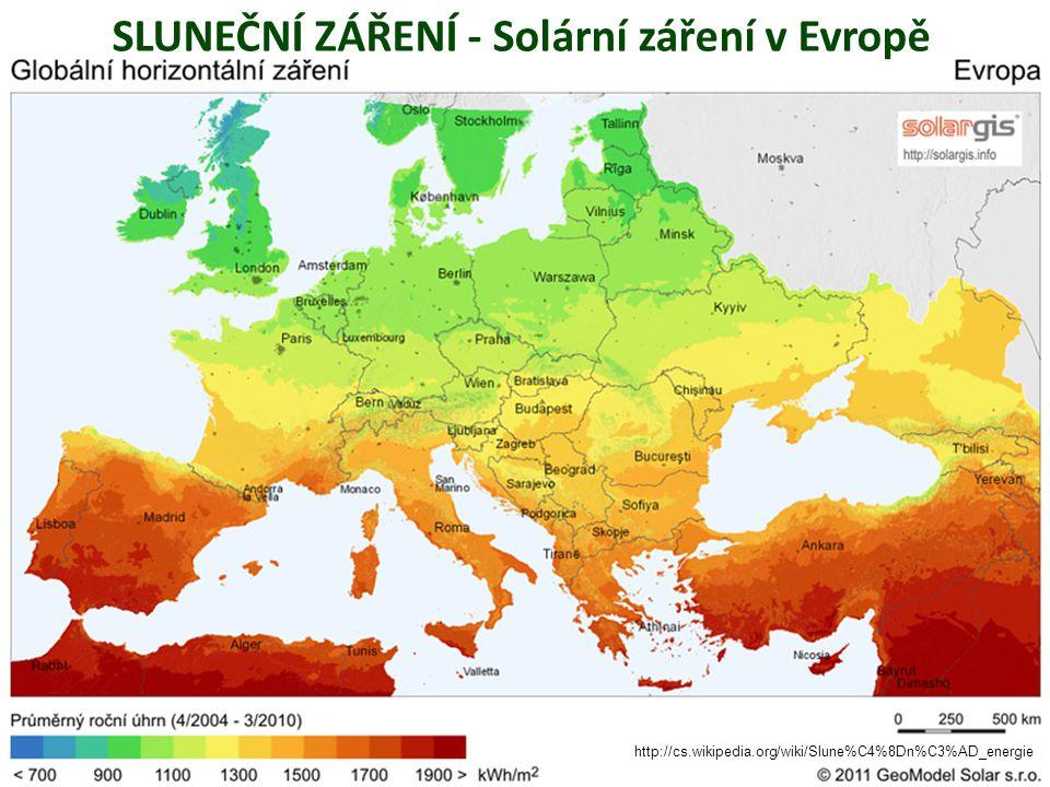 SLUNEČNÍ ZÁŘENÍ - Solární záření v Evropě http://cs.wikipedia.org/wiki/Slune%C4%8Dn%C3%AD_energie