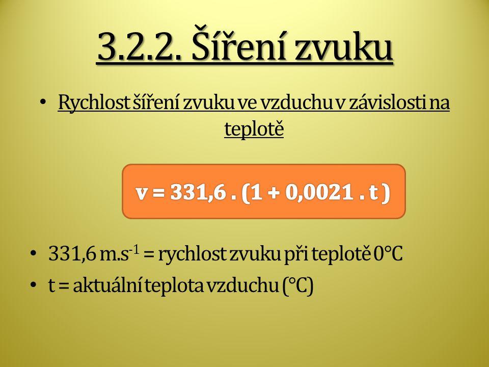 Rychlost šíření zvuku ve vzduchu v závislosti na teplotě 331,6 m.s -1 = rychlost zvuku při teplotě 0°C t = aktuální teplota vzduchu (°C)
