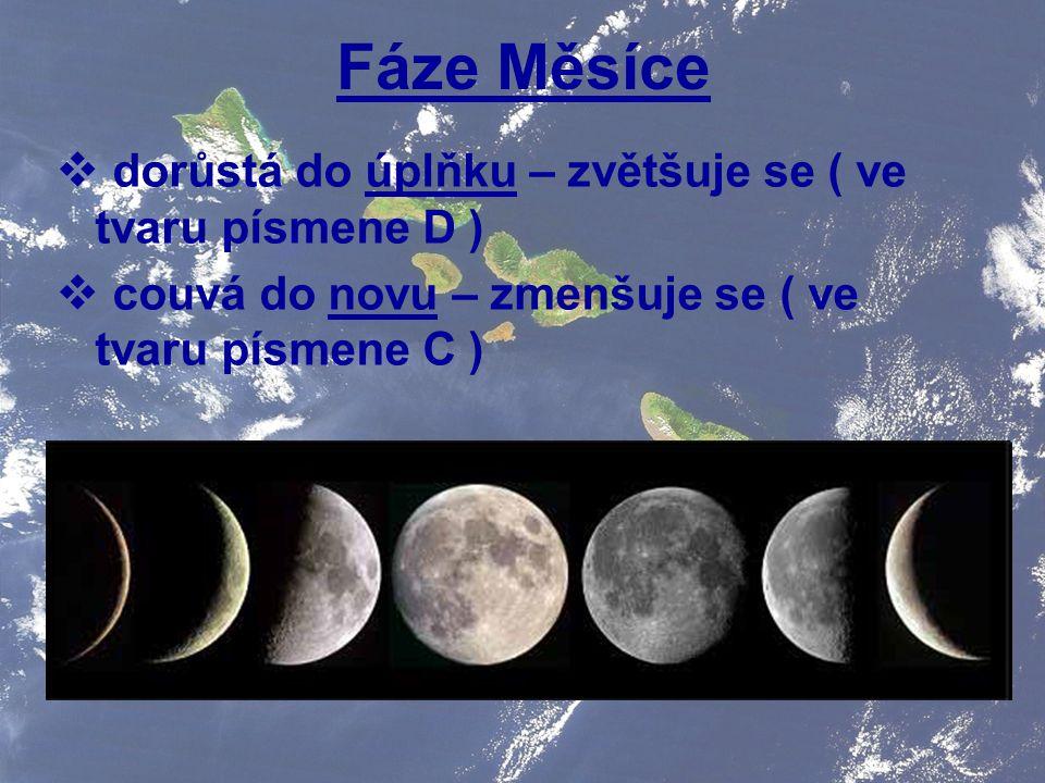 Fáze Měsíce  dorůstá do úplňku – zvětšuje se ( ve tvaru písmene D )  couvá do novu – zmenšuje se ( ve tvaru písmene C )