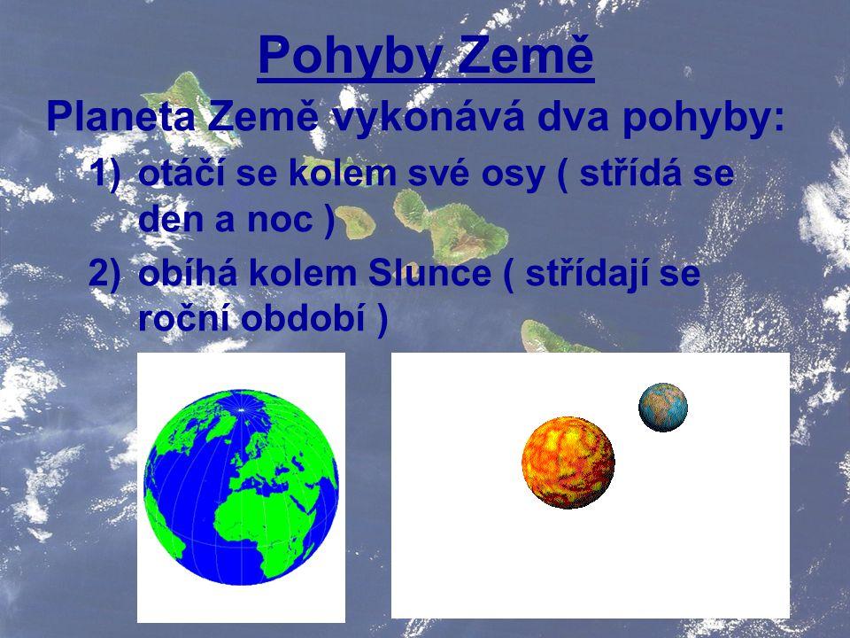 Pohyby Země Planeta Země vykonává dva pohyby: 1)otáčí se kolem své osy ( střídá se den a noc ) 2)obíhá kolem Slunce ( střídají se roční období )