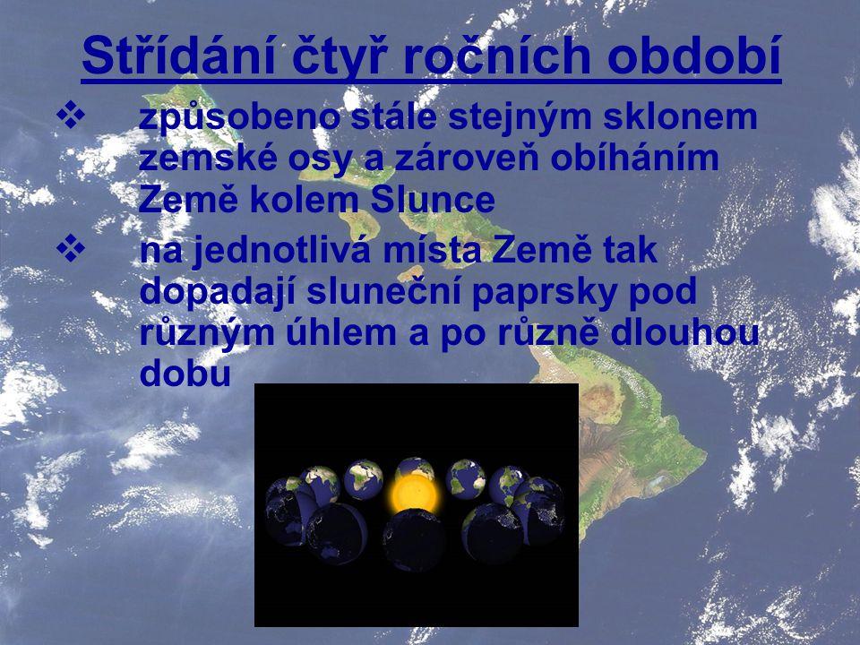 Střídání čtyř ročních období  způsobeno stále stejným sklonem zemské osy a zároveň obíháním Země kolem Slunce  na jednotlivá místa Země tak dopadají