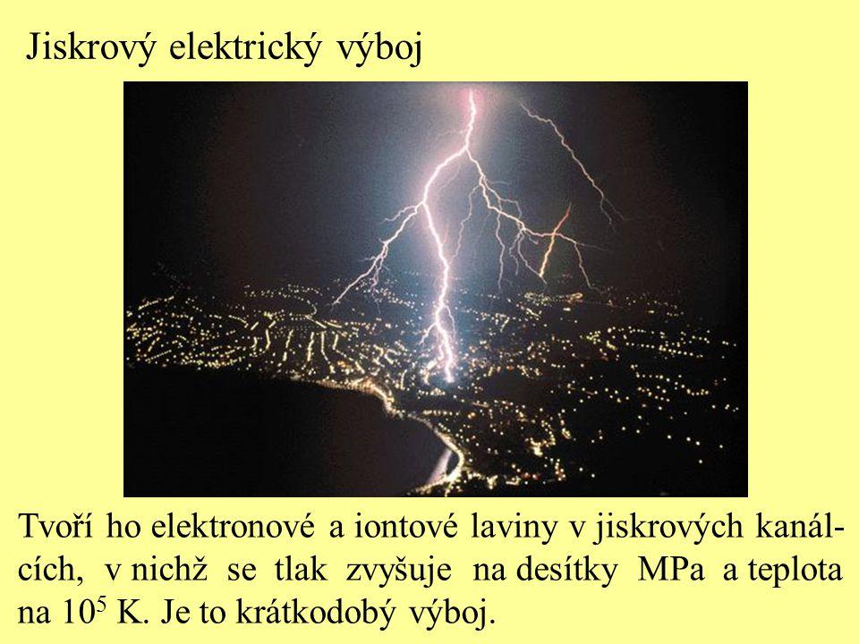 Jiskrový elektrický výboj Tvoří ho elektronové a iontové laviny v jiskrových kanál- cích, v nichž se tlak zvyšuje na desítky MPa a teplota na 10 5 K.