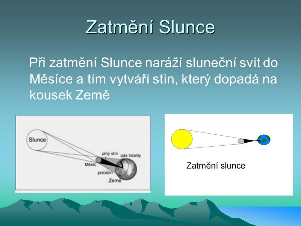 Zatmění Slunce Při zatmění Slunce naráží sluneční svit do Měsíce a tím vytváří stín, který dopadá na kousek Země
